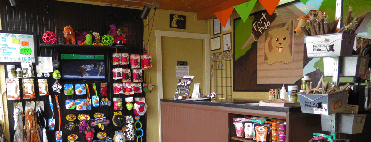We offer a 13 1/2 hour dog daycare day, overnight boarding, and pet supplies.